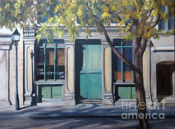 The Green Door  Old Montreal Print by Rita-Anne Piquet