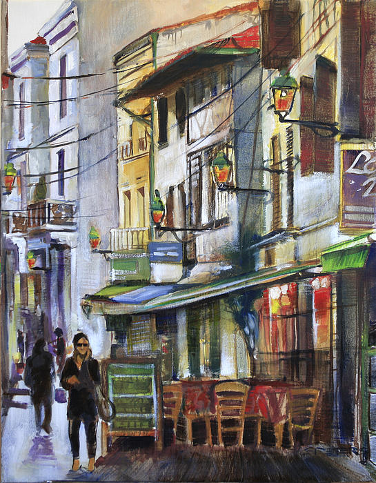 The Green Lights Of Agen Print by Shirley  Peters