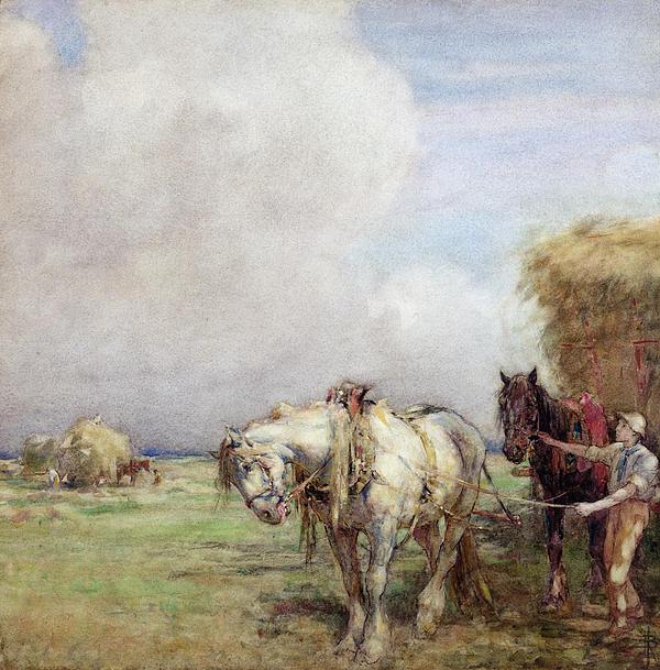 The Hay Wagon Print by Nathaniel Hughes John Baird