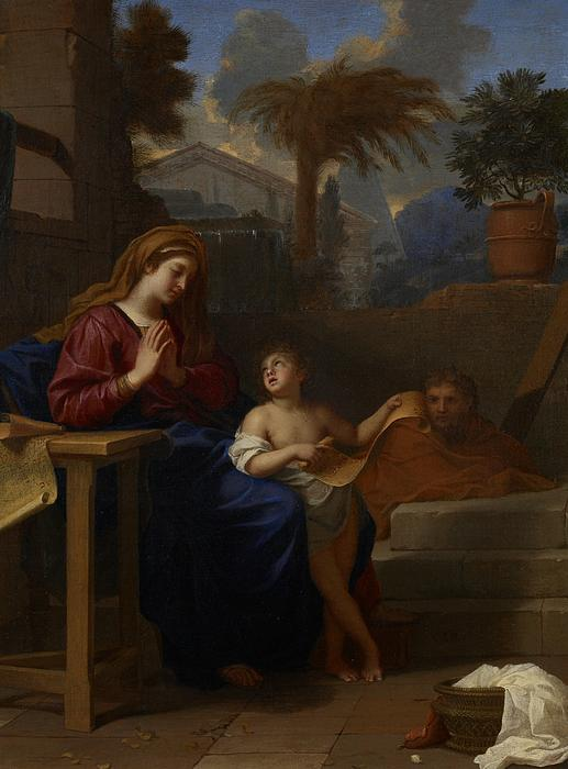 The Holy Family In Egypt Print by Charles Le Brun