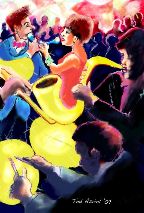 The Jazz Singers Print by Ted Azriel