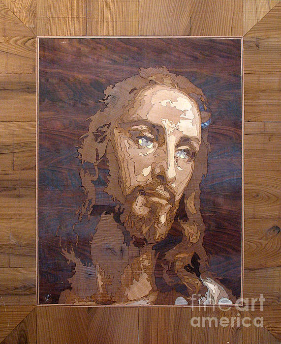 The Jesus Christ Marquetry Wood Work Print by Persian Art