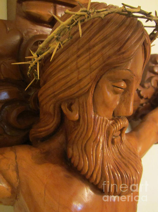 The Jesus Christ Sculpture Wood Work Wood Carving Poplar Wood Great For Church 2 Print by Persian Art