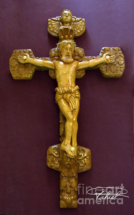 The Jesus Christ Sculpture Wood Work Wood Carving Poplar Wood Great For Church Print by Persian Art