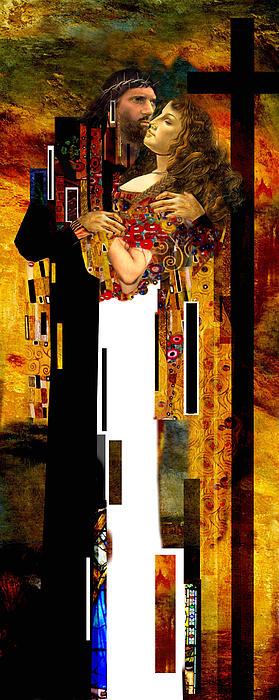 The Kiss     Christ And Maria Magdalena Print by Karine Percheron-Daniels