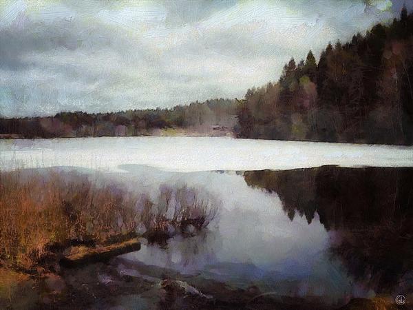 The Lake In My Little Village Print by Gun Legler