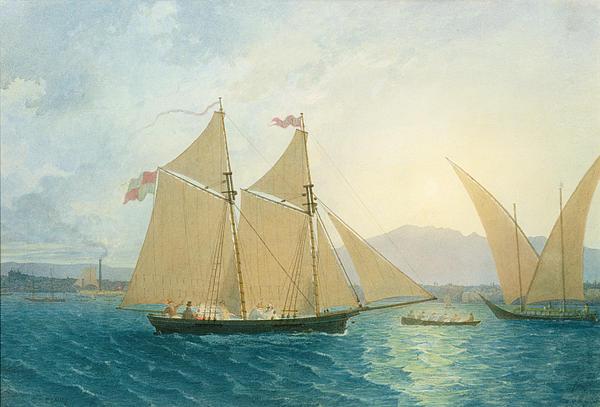 The Launch La Sociere On The Lake Of Geneva Print by Francis  Danby