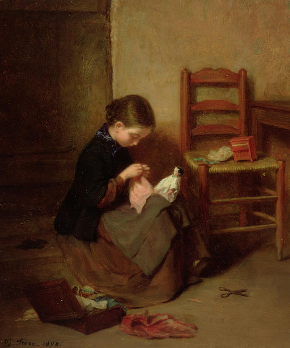 The Little Dressmaker Print by Pierre Edouard Frere