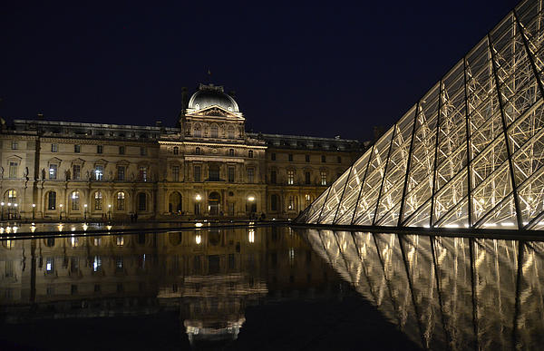 The Louvre Palace And The Pyramid At Night Print by RicardMN Photography