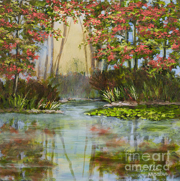 The Mist Beyond With Gold Leaf By Vic Mastis Print by Vic  Mastis