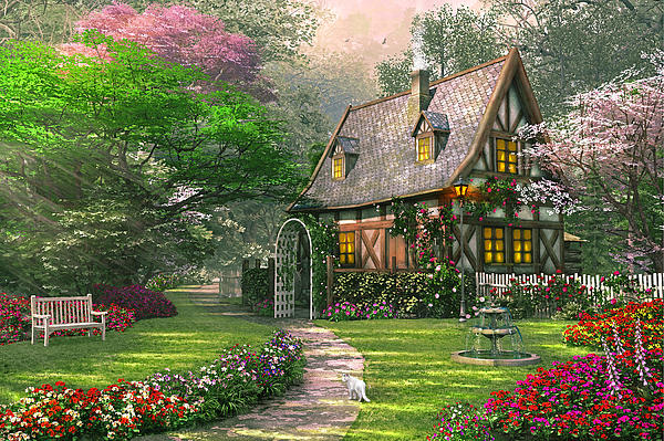 The Misty Lane Cottage Print by Dominic Davison