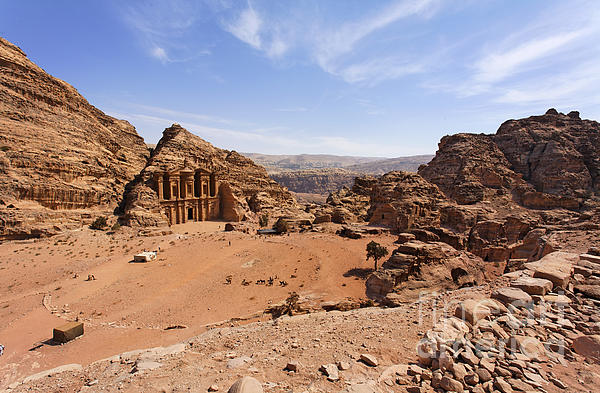 The Monastery Sculpted Out Of The Rock At Petra In Jordan Print by Robert Preston
