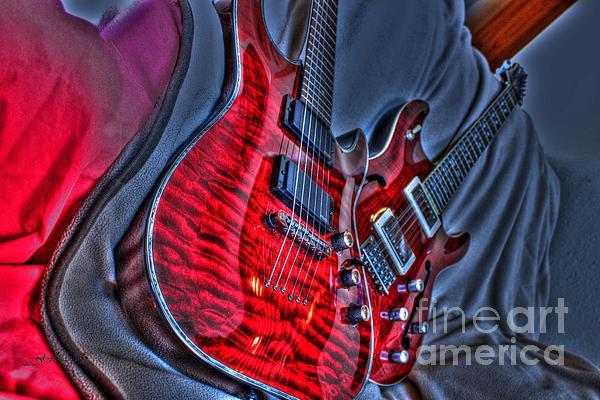 The Next Red Thing Digital Guitar Art By Steven Langston Print by Steven Lebron Langston