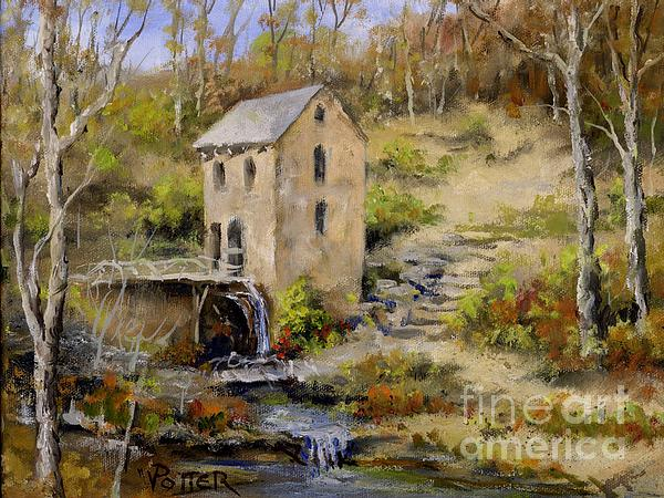 The Old Mill In Late Fall Print by Virginia Potter