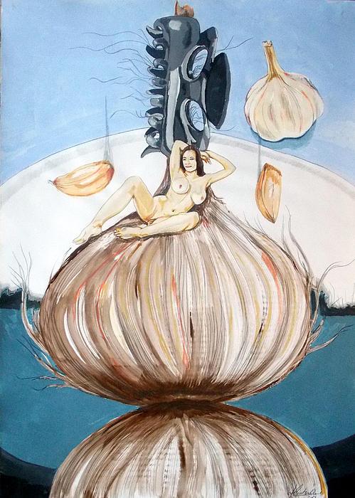 The Onion Maiden And Her Hair La Doncella Cebolla Y Su Cabello Print by Lazaro Hurtado