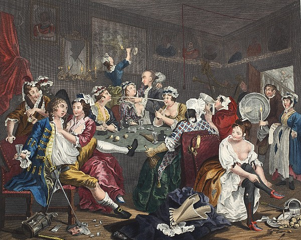 The Orgy, Plate IIi From A Rakes Print by William Hogarth