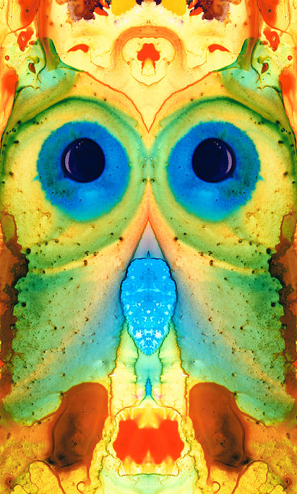 The Owl - Abstract Bird Art By Sharon Cummings Print by Sharon Cummings