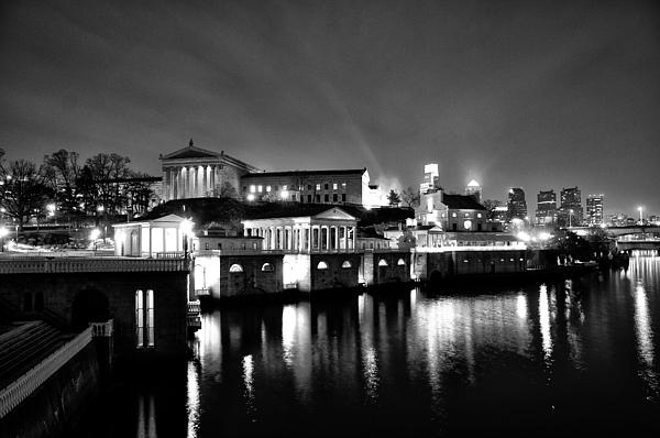The Philadelphia Waterworks In Black And White Print by Bill Cannon