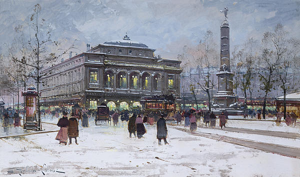 The Place Du Chatelet Paris Print by Eugene Galien-Laloue
