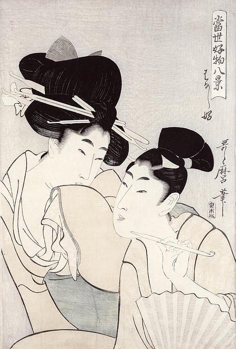 The Pleasure Of Conversation Print by Kitagawa Utamaro
