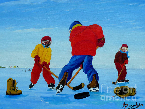 The Pond Hockey Game Print by Anthony Dunphy