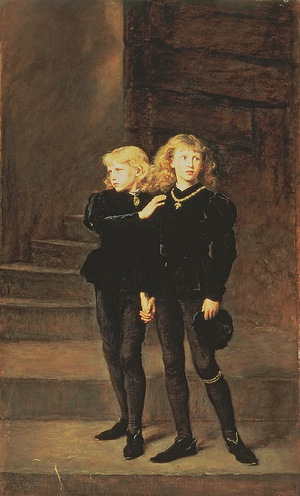 The Princes Edward And Richard Print by Sir John Everett Millais