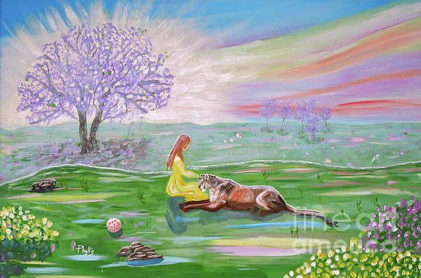 The Princess And Her Lion Print by Phyllis Kaltenbach