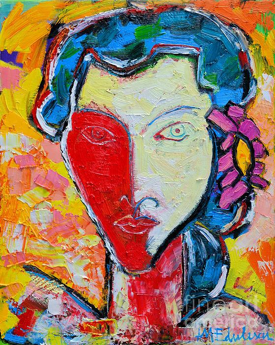 The Red Half Expressionist Girl Portrait  Print by Ana Maria Edulescu