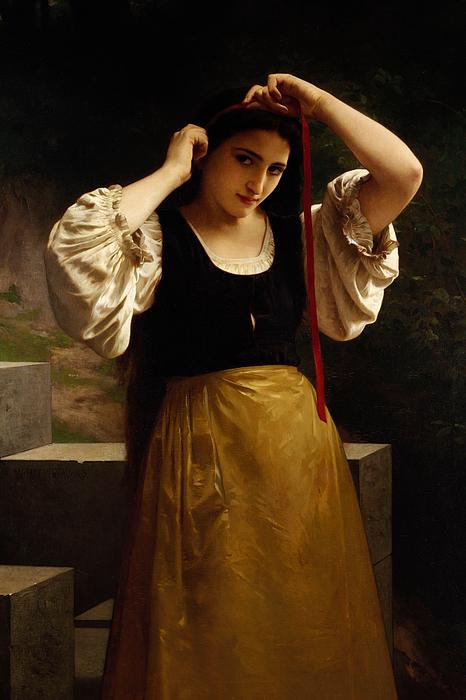 The Red Ribbon Print by William Adolphe Bouguereau