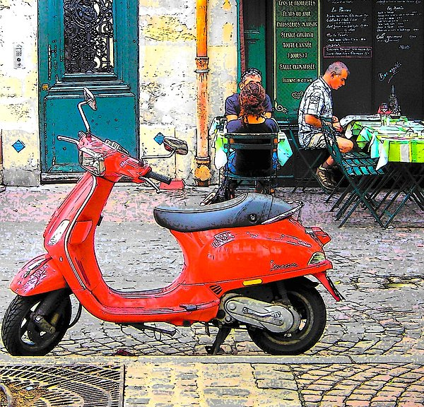 the red vespa in paris by jan matson. Black Bedroom Furniture Sets. Home Design Ideas