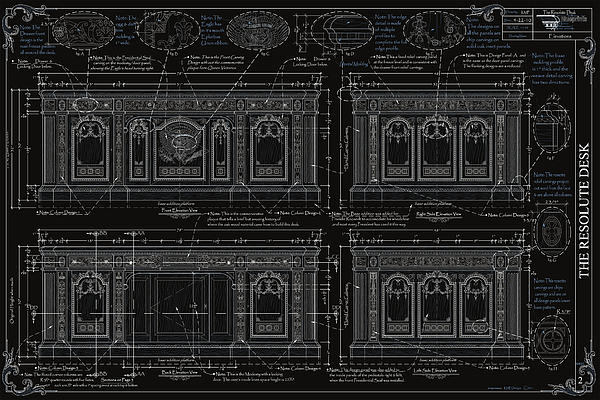 The Resolute Desk Blueprints- Black/white Line Print by Kenneth Perez