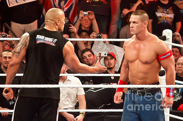 The Rock And John Cena Print by Wrestling Photos