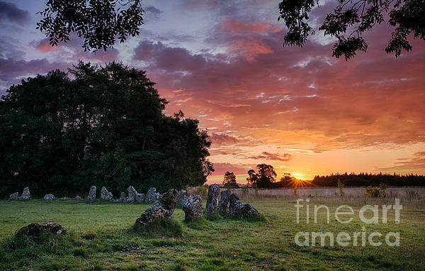 The Rollright Stones Sunrise Print by Tim Gainey