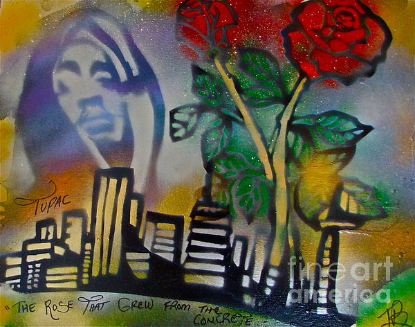 The Rose From The Concrete Gold Print by Tony B Conscious