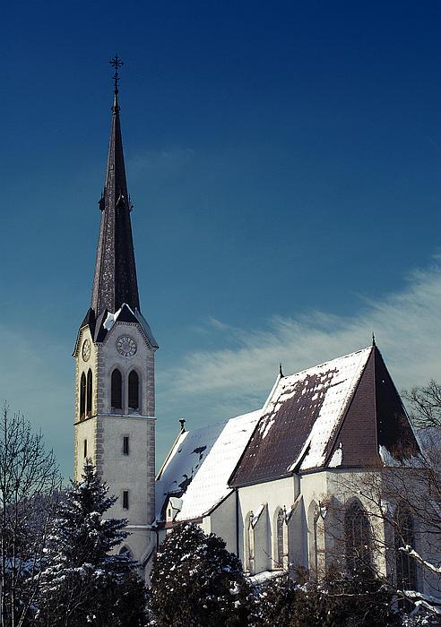 The Snow And The Church Print by Antonio Castillo