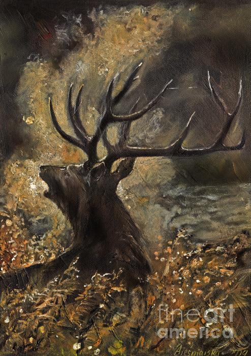 the Stag sitting in the grass oil painting Print by Angel  Tarantella