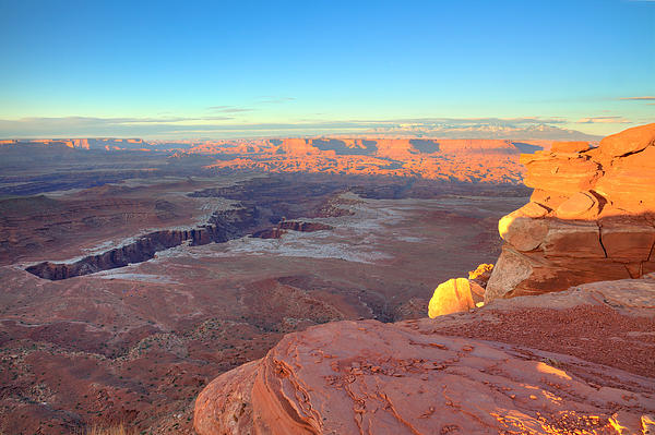 The Sun Sets On Canyonlands National Park In Utah Print by Alan Vance Ley