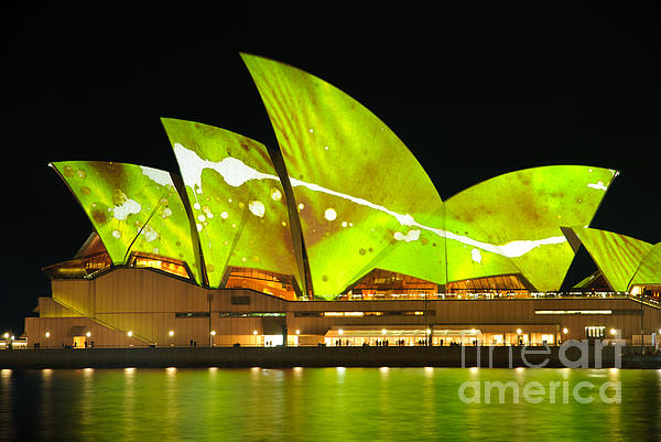 The Sydney Opera House In Vivid Green Print by David Hill