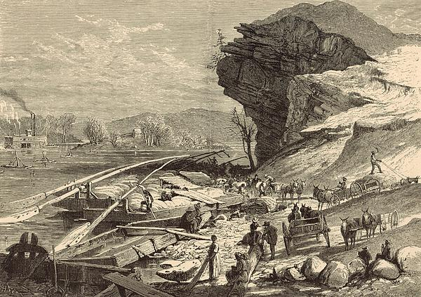 The Tennessee At Chattanooga 1872 Engraving Print by Antique Engravings