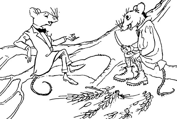 The Town Mouse And The Country Mouse Print by Arthur Rackham