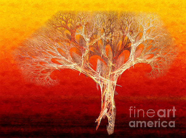The Tree In Fall At Sunset - Painterly - Abstract - Fractal Art Print by Andee Design