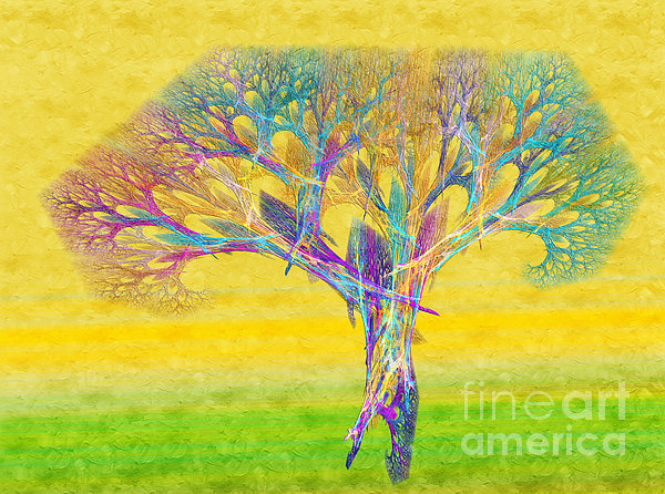 The Tree In Spring At Midday - Painterly - Abstract - Fractal Art Print by Andee Design