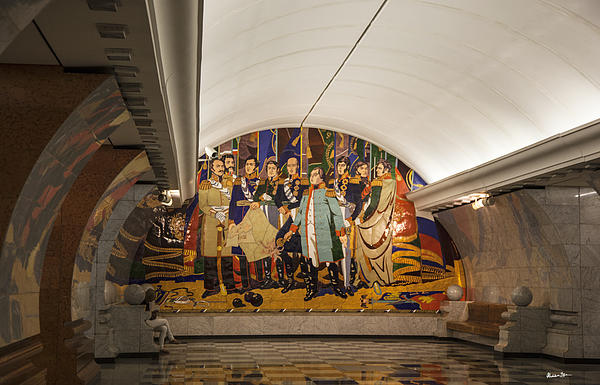 The Underground 2 - Victory Park Metro - Moscow Print by Madeline Ellis