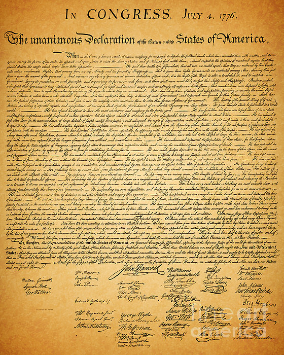 The United States Declaration Of Independence Print by Wingsdomain Art and Photography