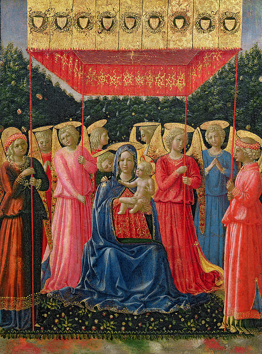 The Virgin And Child With Angels Print by Fra Angelico