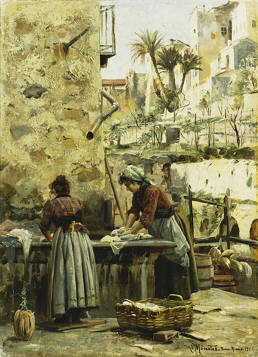 The Washerwomen Print by Peder Monsted