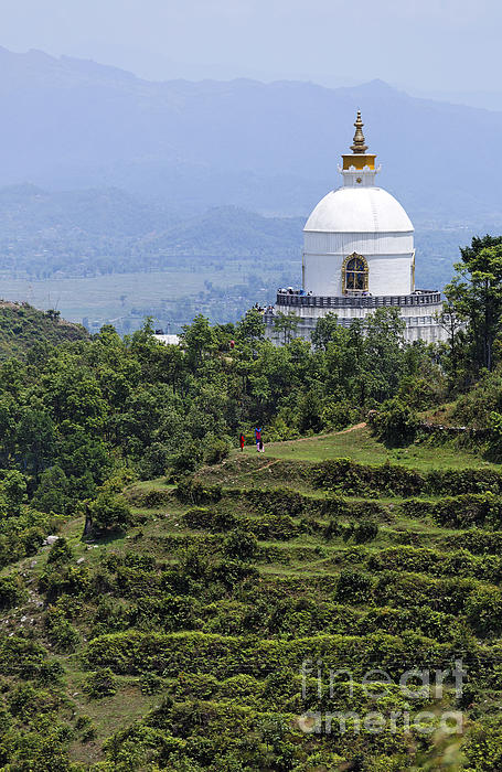 The World Peace Pagoda Pokhara Print by Robert Preston