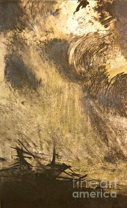 The Wreck- Mono Print Print by Deborah Talbot - Kostisin