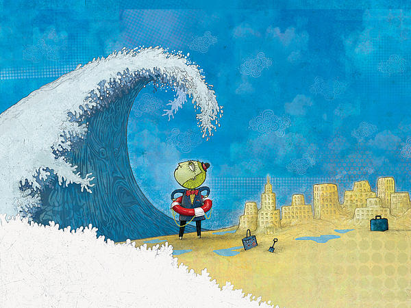 There Goes My Sand Castles Print by Dennis Wunsch