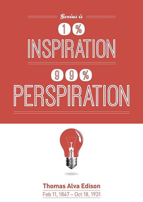Thomas Alva Edison Quote Typography Print Print by Lab No 4 - The Quotography Department